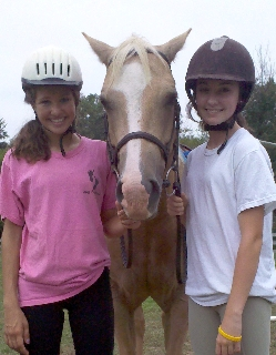 Christina Fleckenstein and Megan Toole with their horse Feature.